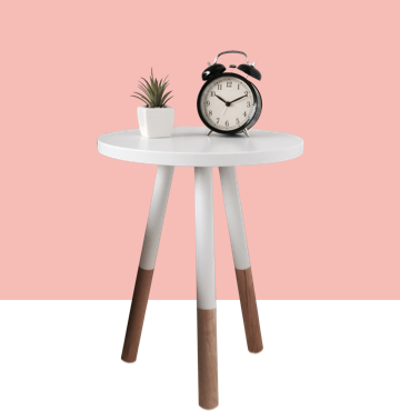 Bedroom small table with alarm clock